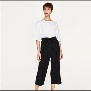 Zara Basic Black Paperbag Cropped Wide Leg  Pant S